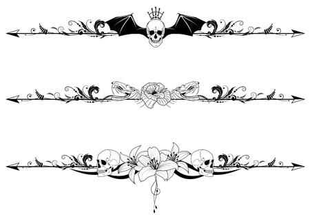 Vector Set der gotischen Grenzen mit Schädel und Blumen