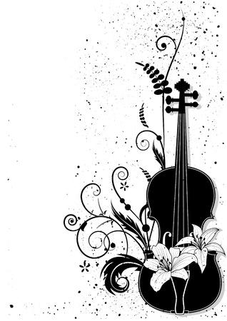 clef de fa: Composition musicale florale de vecteur avec violon en couleurs noir et blancs. Illustration