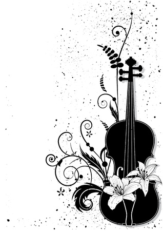 Vector floral musical composition with violin in black and white colors