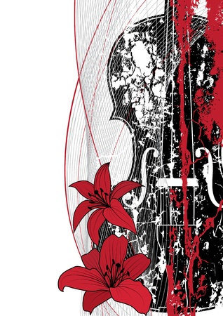 tense: Vector floral musical composition with violin in red, black and white colors