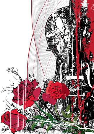 bass clef: Vector floral musical composition with violin in red, black and white colors
