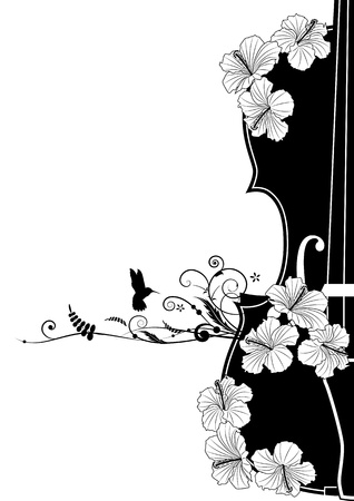 violins: Vector floral musical composition with violin in black and white colors