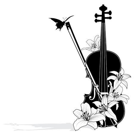 검은 색과 흰색 색상의 바이올린 벡터 꽃 악곡 일러스트