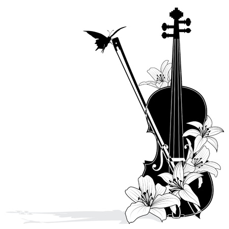 violin: Vector floral musical composition with violin in black and white colors