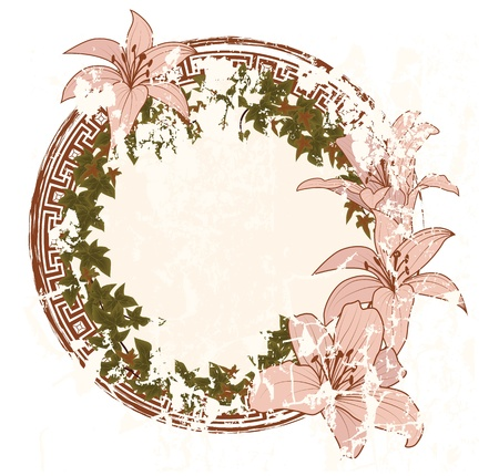 tabacco: vector frame with with flowers of lily