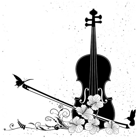 hummingbird: Vector floral musical composition with violin in black and white colors