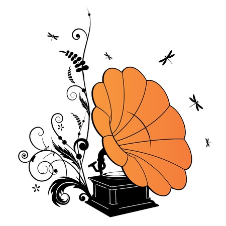 Vector background with the gramophone and dragonflies