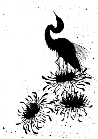 egret: chrysanthemum and heron, floral background  in black and white colors