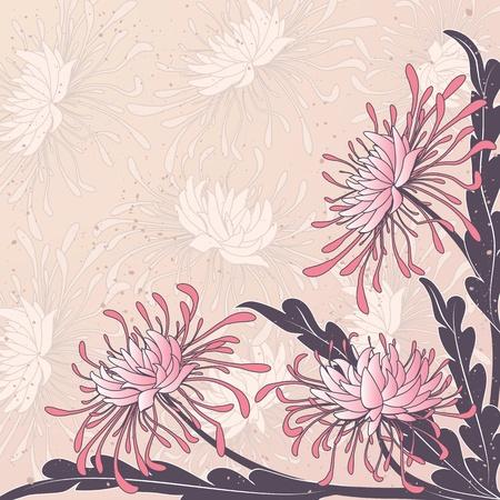 crisantemos: vector Fondo floral con flores de crisantemo