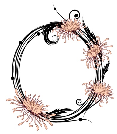 chrysanthemum, floral frame  in black, pink and white colors Vettoriali
