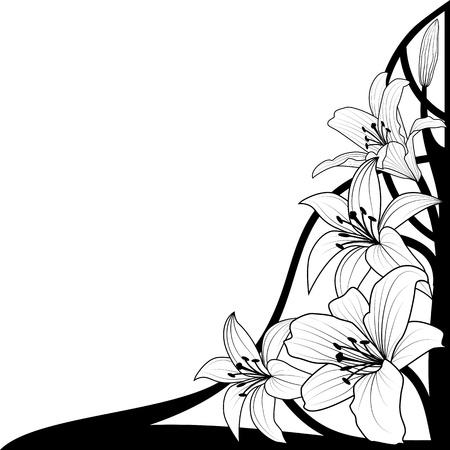 lily flower: illustratie van lelie in zwart-wit kleuren voor hoek ontwerp Stock Illustratie