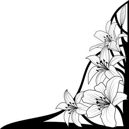 lily flower: illustration of lily in black and white colors for corner design