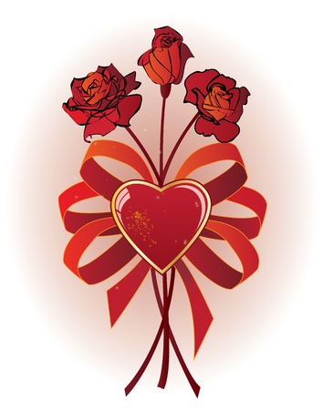 bunch of roses, valentine illustration Stock Vector - 11260466