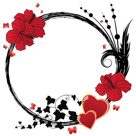 cadre noir et blanc: valentine vecteur floral avec des fleurs d'hibiscus et de coeurs