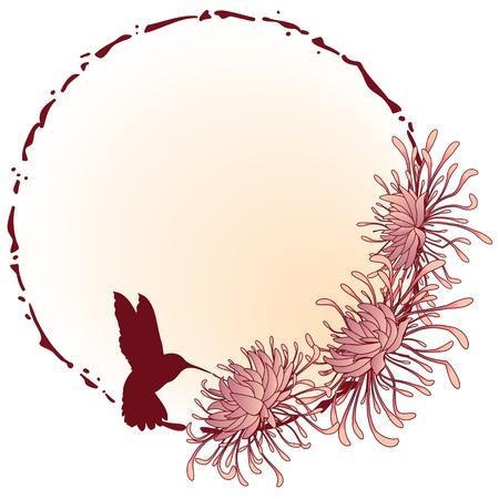 stile liberty: crisantemo, telaio grunge floreali nei colori rosa Vettoriali