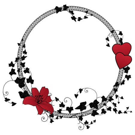 lily, heart and ivy, valentine floral frame  向量圖像