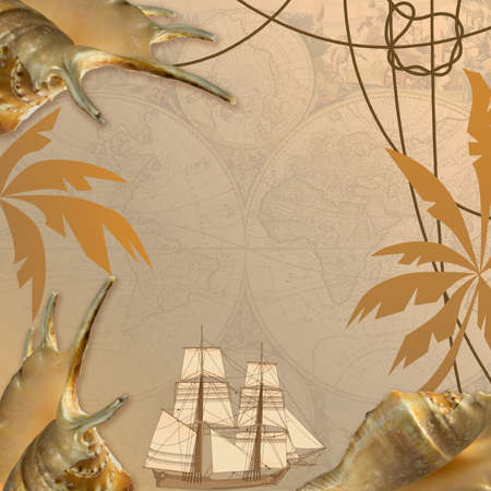 tallship: background with  sea travel elements end shells, collage Stock Photo