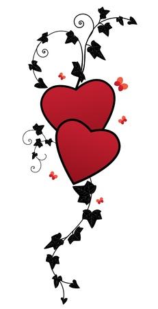 hearts and ivy, valentine floral illustration Illustration