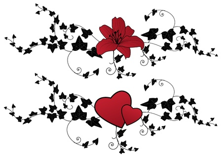 lily, hearts and ivy, set of valentine floral banners