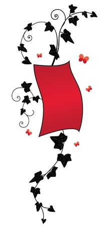 ivy, vector floral banner in black and red colors Illustration