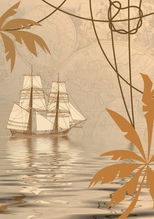 travel background with tall-ship, old map and palms, collage photo