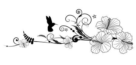 Vector floral composition with hibiscus in black and white colors