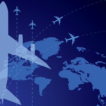 vector background with world map and airplane (EPS 10)