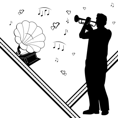 pop musician: vector background with trumpeter, gramophone and notes
