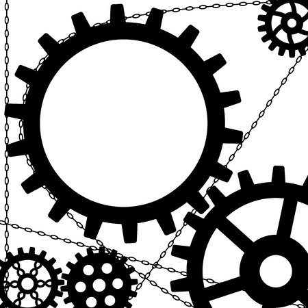 machinery space: vector background with gears and chains in black and white colors