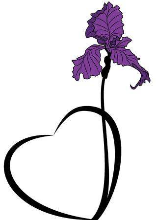 Bannière vecteur Saint-Valentin avec l'iris et le c?ur