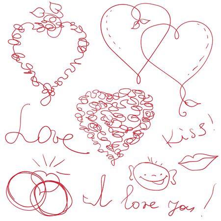 garabatos: gracioso mano drow vector de San Valentín elementos de diseño Vectores
