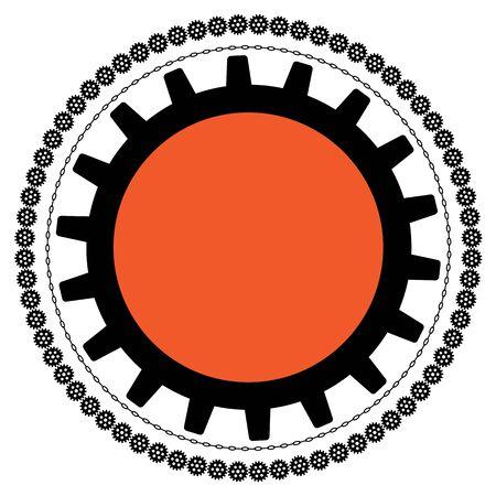 歯車とチェーン黒とオレンジ色のベクトルの背景 写真素材 - 11969515