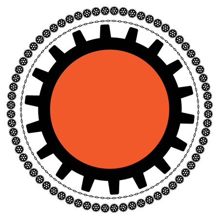 link work: vector background with gears and chains in black and orange colors Illustration