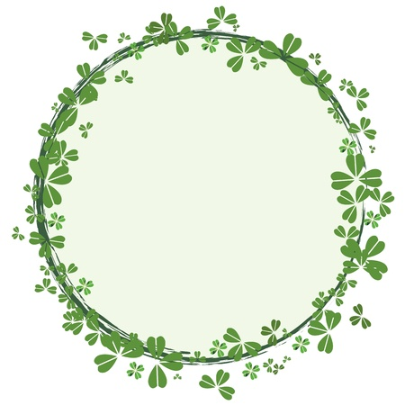 St.Patrick`s day round frame with clover Vector