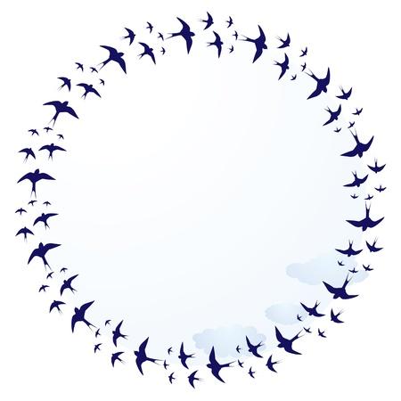 golondrinas: vector de marco redondo con las golondrinas y las nubes