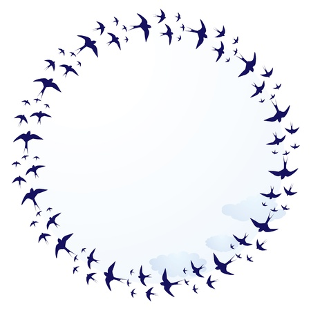 vector round frame with swallows and clouds Stock Vector - 12283057