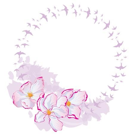 golondrinas: Vector marco con flores de manzana y se la traga