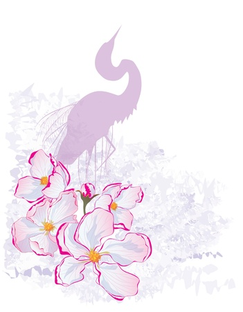 vector illustration of apple flowers and heron  Vector