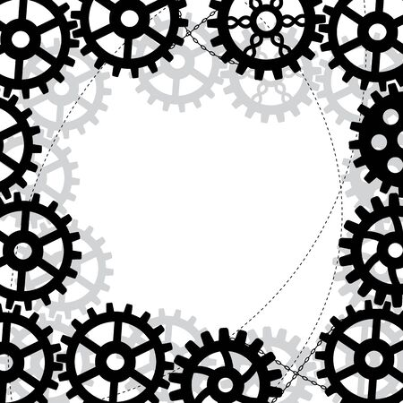 vector frame with gears and chains in black and grey colors Vector