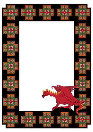 celtic mythology: frame with  dragon in black, red and green colors