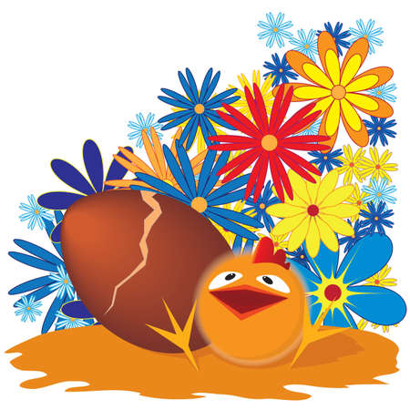 Easter background with egg and funny chicken  Vector