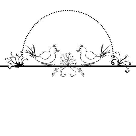 copy spase: folk  background with flowers and birds in black and white colors
