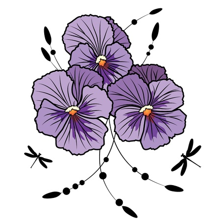 violas: vector illustration of flowers of  violet pansies and dragonflies