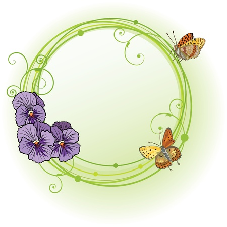 floral border frame: vector frame with flowers of  violet pansies and butterflies