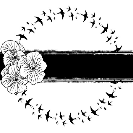 pansy: vector banner with pansies and swallows in black and white colors