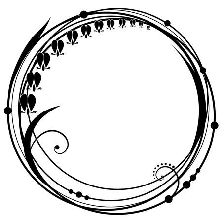 stile liberty: vector cornice astratta floreale con fiori di Dicentra nei colori bianco e nero
