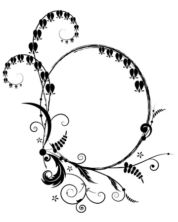 outline flower: abstract vector floral frame  with flowers of Dicentra in black and white colors Illustration