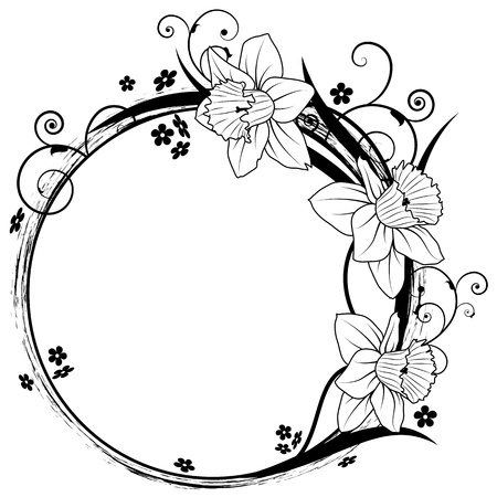 outline flower: vector frame with flowers of narcissus and forget-me-not