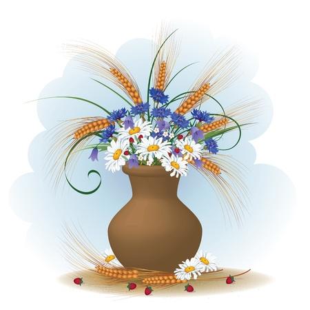 natura morta con fiori: illustrazione vettoriale di mazzo di fiori e spighe di grano