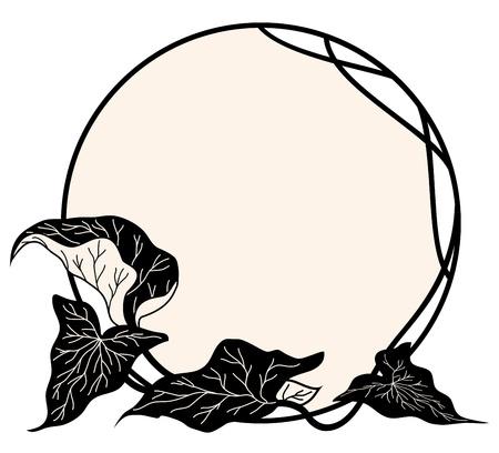 circular:  floral frame in black and sepia colors